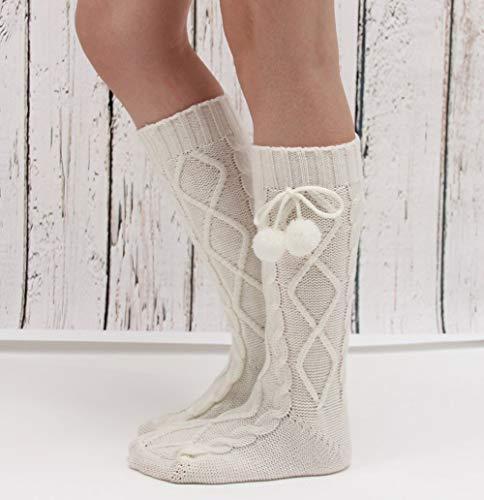 FERFERFERWON Chaussettes Hängende Kugel Diamant warme Fußabdeckung Damen Langen Abschnitt gestrickte Wollsocken Socken Fußbodensocken (Farbe: Weiß) -