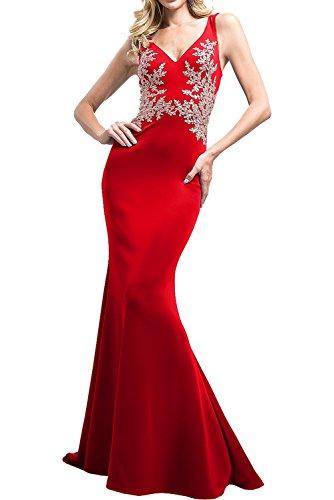 Milano Bride Royal Blau Elegant Spitze Applikation Meerjungfrau Abendkleider Ballkleider Abschlussballkleider Lang Rot