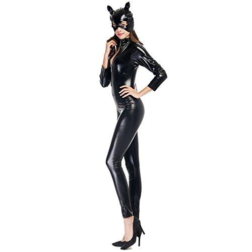 Hallowmax Damen Schellack Catwoman Motorradkleidung Klub Halloween Geschmack Anzüge Party Kostüm