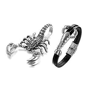 Aroncent 2PCS Herren Skorpion Schmuck-Set (Halskette + Armband), Edelstahl Scorpion Biker Anhänger mit 55cm Kette und Leder Armband, Silber/Gold Schwarz