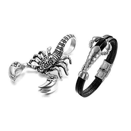 Aroncent 2PCS Herren Skorpion Schmuck-Set (Halskette + Armband), Edelstahl Scorpion Biker Anhänger mit 55cm Kette und Leder Armband, Silber Schwarz