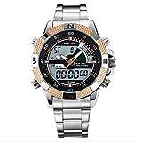 Fashion Watches Schöne Uhren, Weide® Quarz Männer voller Stahl Sport Luxusuhrenmarke analoge LCD-Digitalanzeige (Farbe : Rotg