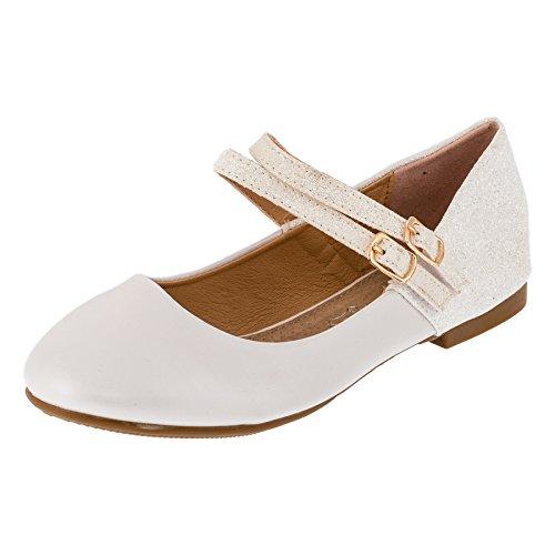 Festliche Mädchen Glitzer Ballerinas Schuhe mit Echt Leder Innensohle M408ws Weiß 35