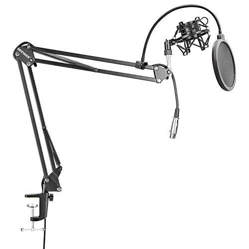 Neewer NW-35 Soporte de Micrófono Sobremesa con Brazo de Suspensión con Cable XLR Incorporado Macho a Hembra, Montaje de Choque, Filtro de Micrófono de 6 Pulgadas para Radio, Grabación en Casa(Negro)