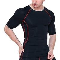 Camiseta Compresión Ropa Deportiva Hombre Manga Corta de Aptitud Jogging Tops T-Shirts Camiseta de Deporte para Gimnasio Running Fitness Entrenamiento Yoga