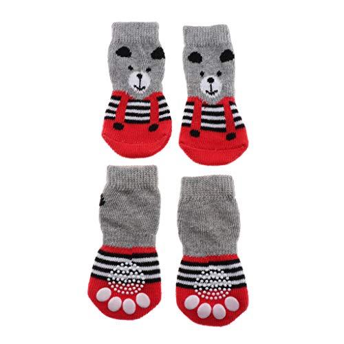perfk 4 Stück Hundesocken Pfotenschutz Baumwollsocken mit Rutschfester Sohle für Hunde im Innenraum - Bär, S