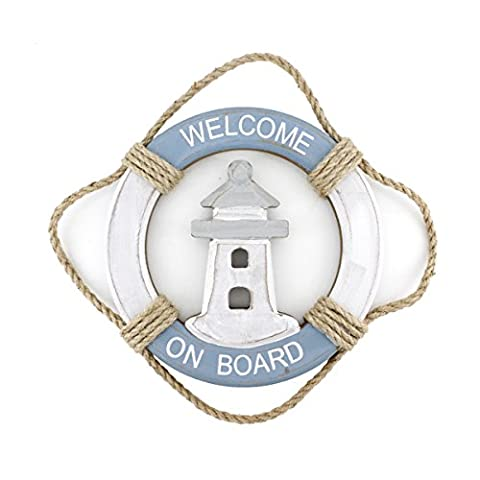 Wooden Nautical Life Ring Wall and Door Hanging Ornament Plaque,Welcome