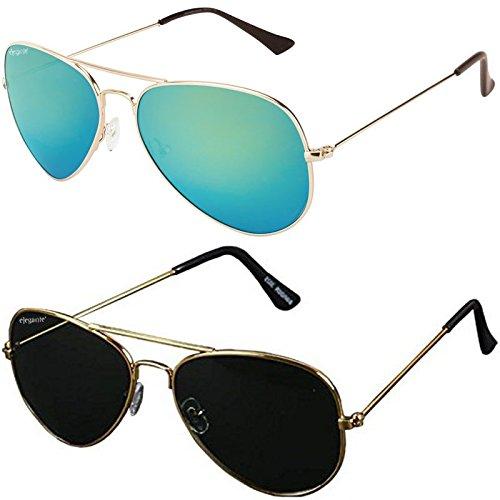 Elegante Combo Of 2 Aviator Men\'s Sunglasses(Elt-5133/M|55|Black)