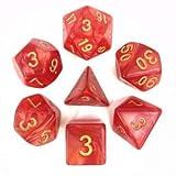 Arkero-G 7er Premium Dice Würfel-Set Pearl: Rot mit Goldschrift / Red - für Rollenspiele, Brettspiele & Sammelkartenspiele - Spindown