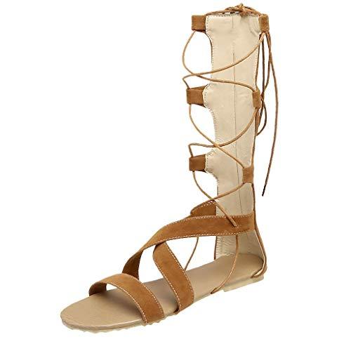 Wawer_Damen Sandalen  Frauen-Sommer-reizvoller Verband höhlen heraus Sandelholze-Flache Fersen-hohe Stiefel-offene Zehen-Schuhe aus, Plateauschuhe Lazy Shoes Freizeitschuhe Einzelschuhe (Flache Zehe Stiefel Frauen)