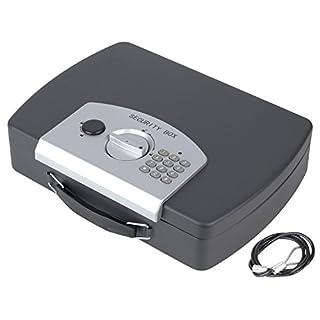 HMF 1608-02 Dokumentenbox Safe Elektronikschloss, inkl. Drahtseil, 33 x 23,6 x 8,8 cm, schwarz