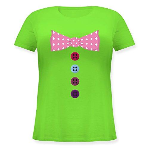 Karneval & Fasching - Clown Kostüm Rosa Fliege - Lockeres Damen-Shirt in Großen Größen mit Rundhalsausschnitt Hellgrün