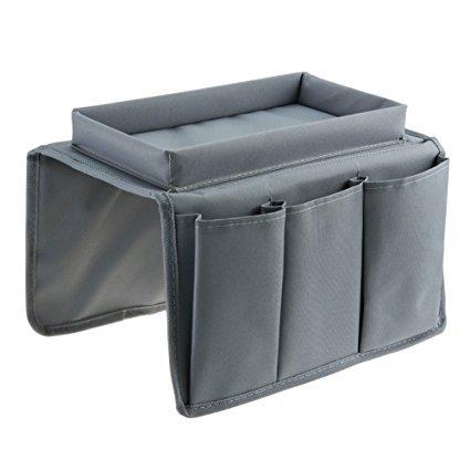 Sofaorganizer von Eztara, Sofaablage, Sofatablett, Fernbedienungs-Halter für Armlehnen mit Becherhaltertablett–passt über die Armlehne von Stühlen, Sofas, Sessel, mit geräumigen Taschen. grau