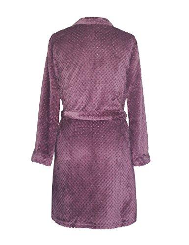 RAIKOU Kuschel weicher Bademantel Hausmantel, Loungewear Saunamantel für Damen, aus luxuriösem Flausch Coral Fleece auch als Morgenmantel perfekt Lila
