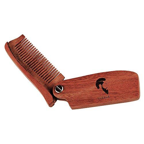 ECENCE Bartkamm klappbar Taschenkamm aus Holz Bartpflege braun 21040206