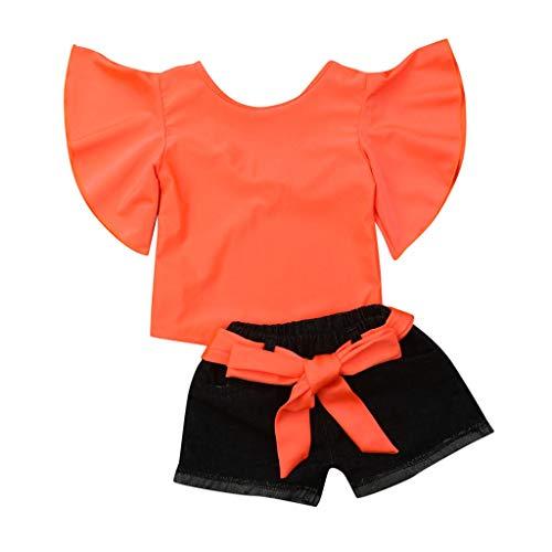 Zylione Mädchenanzug Baby Sommer kurzärmliges, Fluoreszierendes Trompetenhemd + Jeansshorts für 1-5 Jahre -