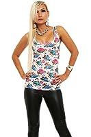 3904 Fashion4Young Damen Top Blüten-Print Ringer-Top Rundhals-Ausschnitt 4 Farben 2 Größen