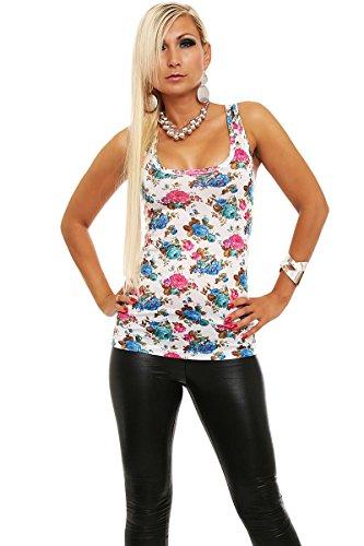 Fashion4Young 3904 pour femme imprimé fleurs ringer-t-shirt-col rond - 4 coloris - Weiß Blau