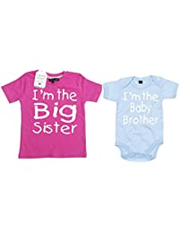 Edward Sinclair Matching 'I'm The Big Sister ' t-Shirt and 'I'm The Baby Brother' Bodysuit Set (Please Input The Sizes In The Gift Message Box)