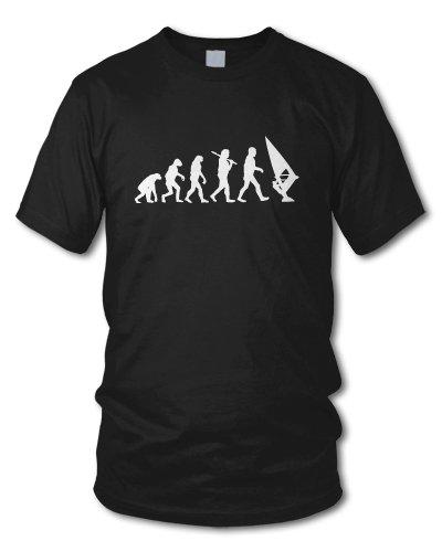 shirtloge - EVOLUTION WINDSURFER - KULT - Fun T-Shirt - in verschiedenen Farben - Größe S - XXL Schwarz
