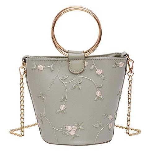 Mitlfuny handbemalte Ledertasche, Schultertasche, Geschenk, Handgefertigte Tasche,Mode Frauen Stickerei Blume Leder Eimer Tasche umhängetasche umhängetaschen