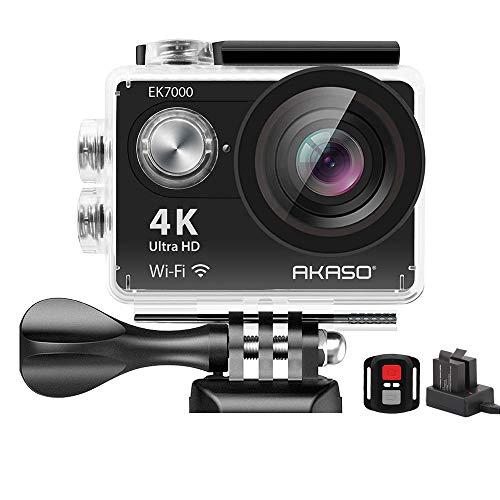 Action Cam,AKASO 4K WiFi Action Kamera/Unterwasserkamera 170°Ultra Weitwinkel Full HD Sports Kamera mit 12MP 2 Zoll LCD Bildschirm 2.4G Fernbedienung