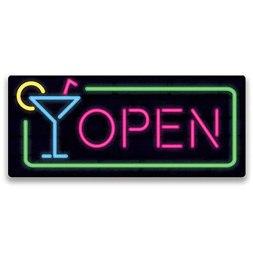 Sary buri Bar Open Neon Vintage Metal Cartel De Chapa Placa Arte De La Pared Adecuado para Garaje Club Bar Cafe Pintura Decoración