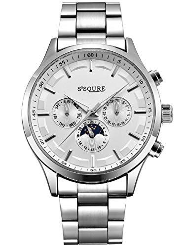 Alienwork Herren Damen mechanische Automatik-Uhr Silber mit Edelstahl Metallarmband Kalender Weiss