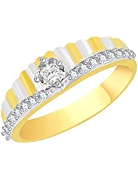 VK Jewels Solitaire Stone Gold And Rhodium Plated Alloy CZ American Diamond Ring For Men [VKFR2635G]