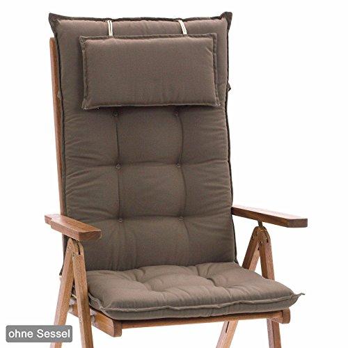 Luxus Auflagen für Hochlehner 9 cm dick mit Kopfkissen Miami 50102-61 uni taupe (ohne Stuhl)