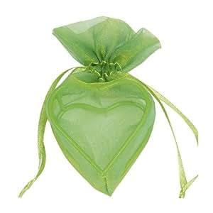 Santex - Sachet Organdi Coeur Armure Vert