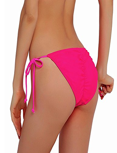 NOAHAN Frauen Bunt Sexy Bikini Bottom Swimsuit Tie Side Push Up Brazilian S M L XL Rosa