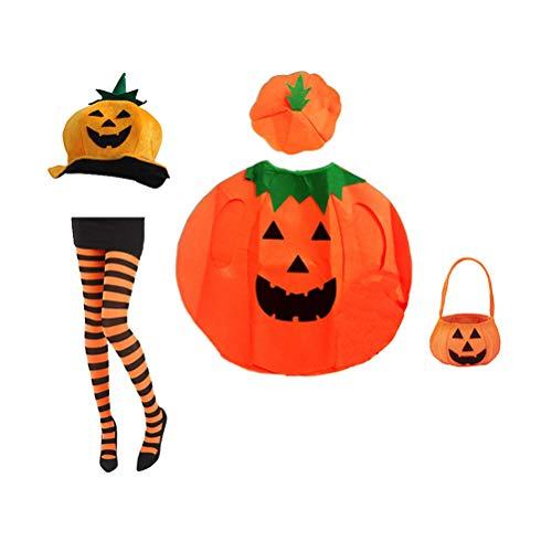 oween Kostüm Set Kürbis Hut Kürbis Cosplay Kleidung Outfit Dress Up Strumpfhose Kleidung mit Tasche für Halloween Cosplay Kostüme ()