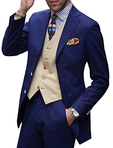 UMISS Herren Slim Fit Anzugjacke mit Zwei Knöpfen Tux-Weste und Hose