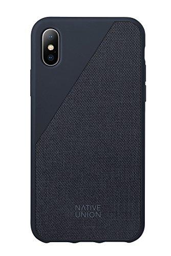 Native Union CLIC Canvas Case für iPhone X - Fallbeständiges Schutz-Cover - aus Hochwertigem Gewebe (Marine)
