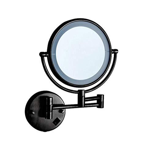 JXQ Le miroir de vanité de salle de bains a mené avec le miroir télescopique se pliant monté au mur de miroir de beauté de lumière Miroir à deux faces de vanité de salle de bains, noir
