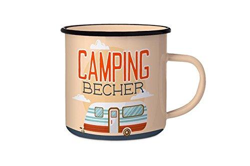 Dekohelden24 Emaillebecher/Emaillierter Becher aus Metall, Motiv: Camping Becher, Maße: Höhe/Ø: 11,5 x 8,5 cm.