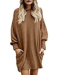 Minetom Femme Robe Pull Elégant Tricot Col Rond Manche Longue Mode Solide en Vrac Hiver Toison Mini Dress Chandail Robe Sweater Tunique