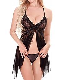 Dafunna Damen Negligee Reizwäsche Nachtkleid sexy Babydoll Dessous Lingerie Spitze V-Ausschnitt Nachtwäsche Kleid mit G-string