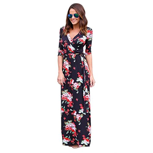 Damen Kleid LSAltd Frauen Art und Weise V Ansatz Blumen Druck Röcke Boho Maxi Abend Partei Strand Kleid-langes Sundress(Schwarz, L) (Druck-stretch-rock)