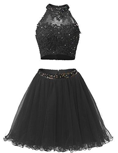 Dresstells Robe courte de soirée de cocktail Robe de bal emperlée en tulle deux pièces Noir