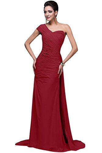 Missdressy Damen EL7055 Chiffon Abendkleider Lang Ballkleid (34, Rot)