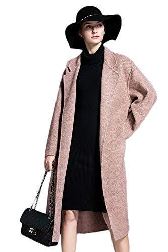 X-xyA Damen Vintage Wollmantel Revers Verdicken Lose Kaschmir Outwear Casual Mantel Mit Gürtel 2
