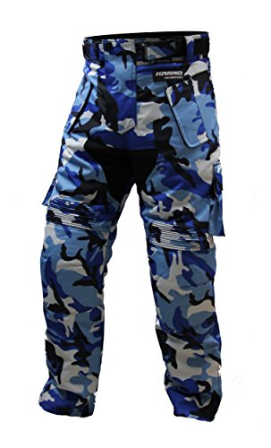 Karno-Motorsport Pantalon treillis moto ou quad motif camouflage militaire bleu
