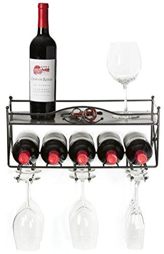 Porta vino con ripiano e supporto per bicchieri in vetro a stelo