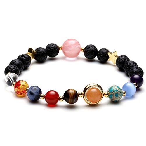 Jovivi Gioelli pulsera del sistema Solar Universo Galaxia Nove planetas Guardiano estrella de piedra natural pulseras pulseras para mujeres y hombres regalo