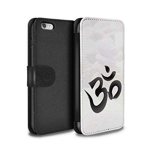 Stuff4 Coque/Etui/Housse Cuir PU Case/Cover pour Apple iPhone 5/5S / Bouddha de Pierre Design / Paix Intérieure Collection Symbole OM