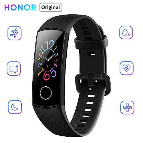 honor band 5 activity tracker 0,95 schermo amoled a colori 50m waterproof heart rate monitor wristbands bracelet per diverse modalità sportive (nero)