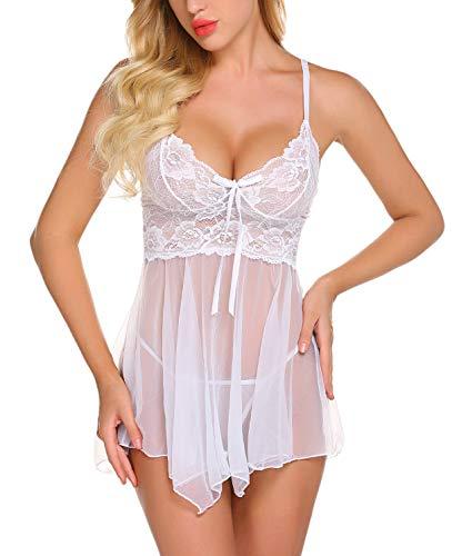 ADOME Spitze Negligee Sexy V-Ausschnitt Babydoll Lingerie Nachtwäsche Kleid Dessous Set für Damen M1884t Unregelmäßiger Saum und String Weiß EU M -