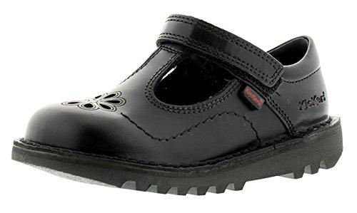 Kickers NEU jüngeres Mädchen/Kinder schwarz flattern Touch Verschluss Schuhe schwarz - UK Sizes 7-12 - Schwarz, 12 UK Child -